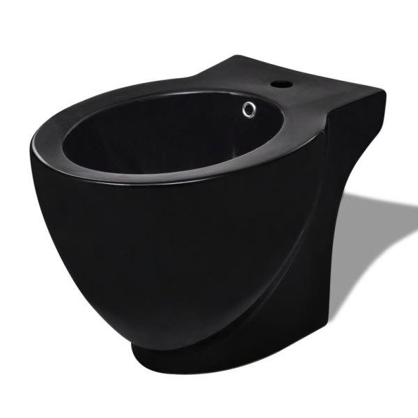 Bideu ceramic rotund cu montare pe pardoseală, negru