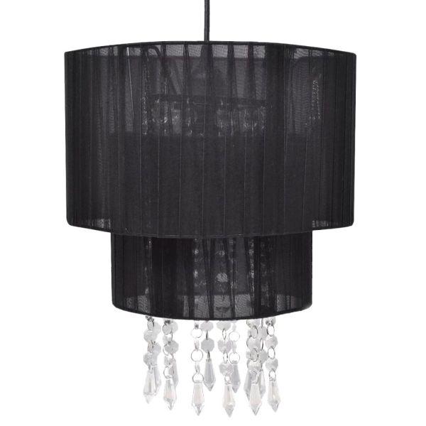 Lustră candelabru cu cristale, negru