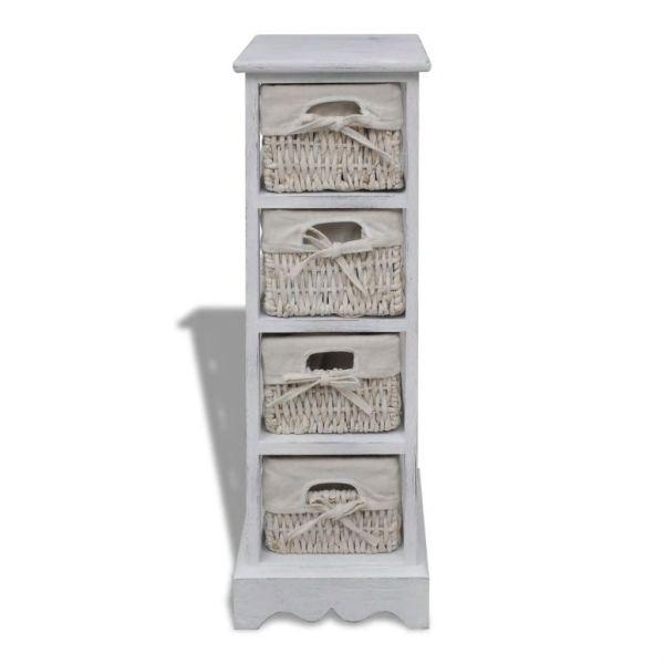 Dulap de depozitare din lemn, 4 coșuri împletite, alb