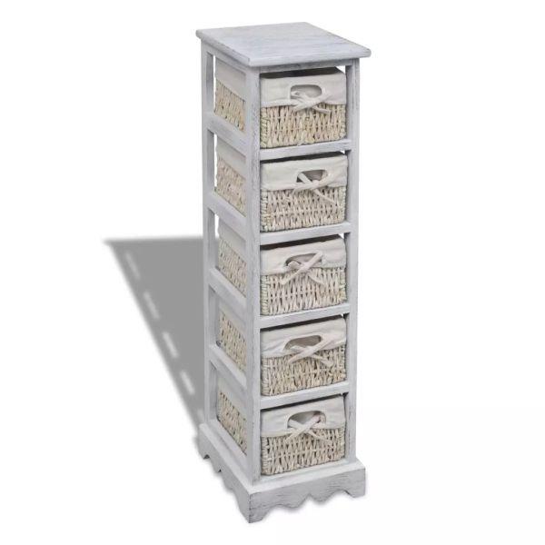 vidaXL Dulap de depozitare din lemn, 5 coșuri împletite, alb
