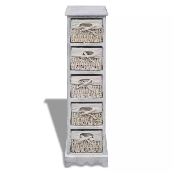 Dulap de depozitare din lemn, 5 coșuri împletite, alb
