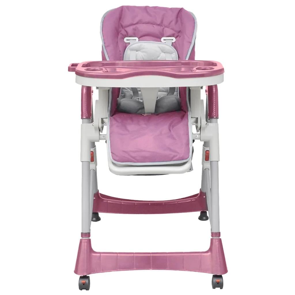 Scaun înalt pentru copii, Deluxe, roz, înălțime reglabilă