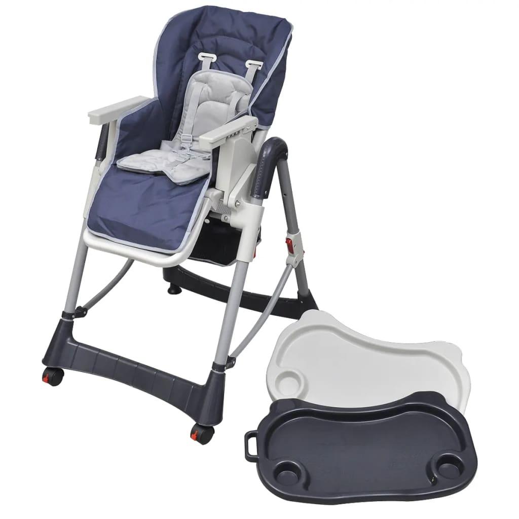 vidaXL Scaun înalt pentru copii, Deluxe, albastru, înălțime reglabilă