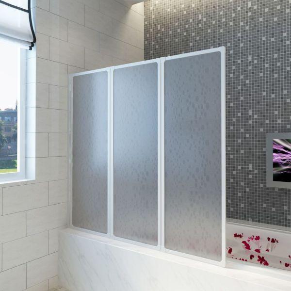 Panou separeu pentru baie 141 x 132 cm Pliabil în 3