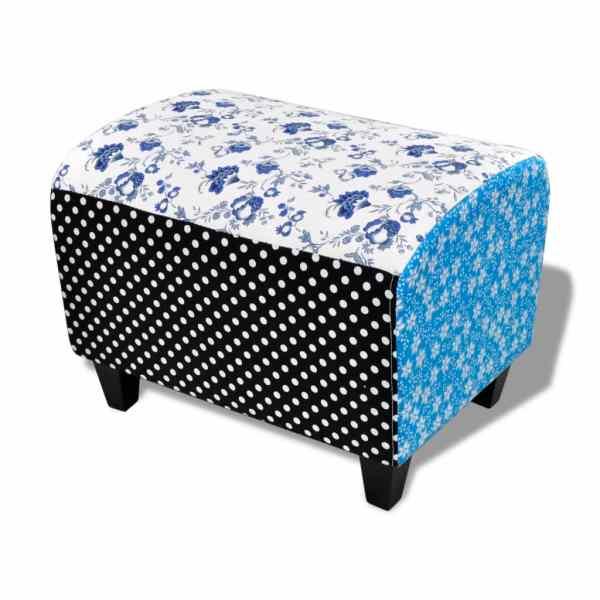 Taburet patchwork rustic cu motive florale, albastru și alb