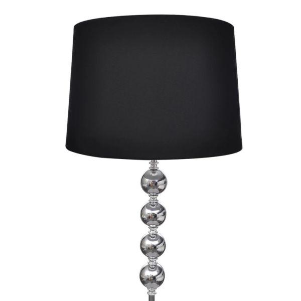 Lampă de podea cu abajur și stativ cu 4 bile, negru