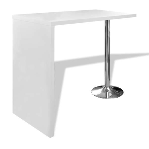 vidaXL Masă de bar din MDF, cu 1 picior din oțel, alb lucios