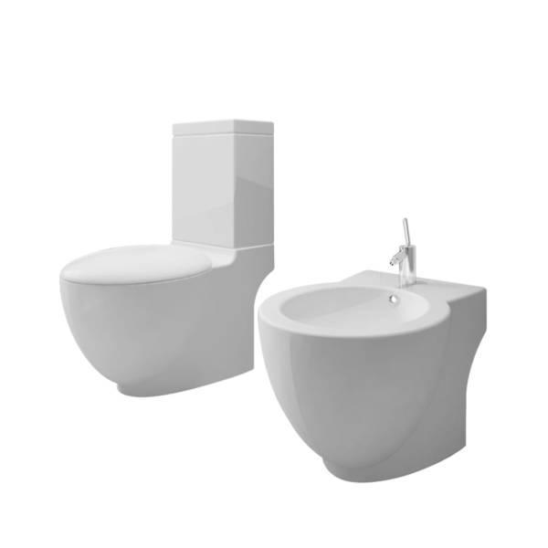 Set vas de toaletă și bideu din ceramică, alb