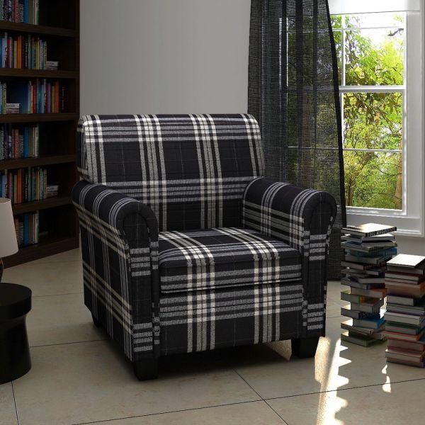 vidaXL Fotoliu cu pernă, negru, material textil