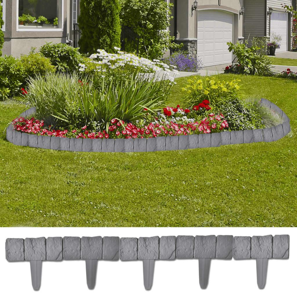 Gard din plastic cu aspect de piatră 41 buc 10 m