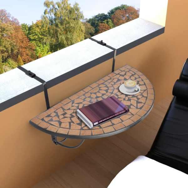 vidaXL Masă de balcon suspendată, teracotă, mozaic