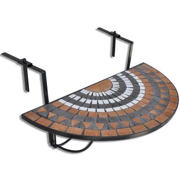 vidaXL Masă de balcon suspendată, teracotă și alb, mozaic