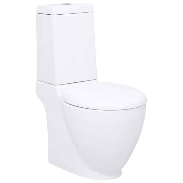 vidaXL Vas WC toaletă de baie, alb, ceramică, rotund, flux inferior