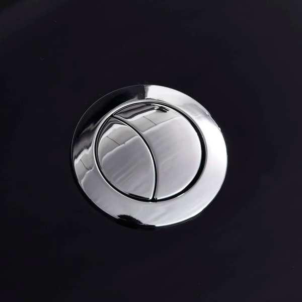 vidaXL Vas WC toaletă de baie, negru, ceramică, rotund, flux inferior