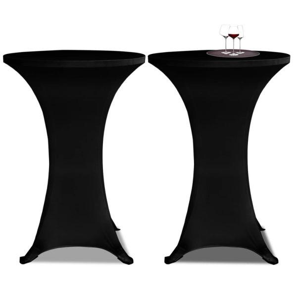 Faţă de masă pentru mese înalte Ø 80 cm Negru Elasticizată 2 buc