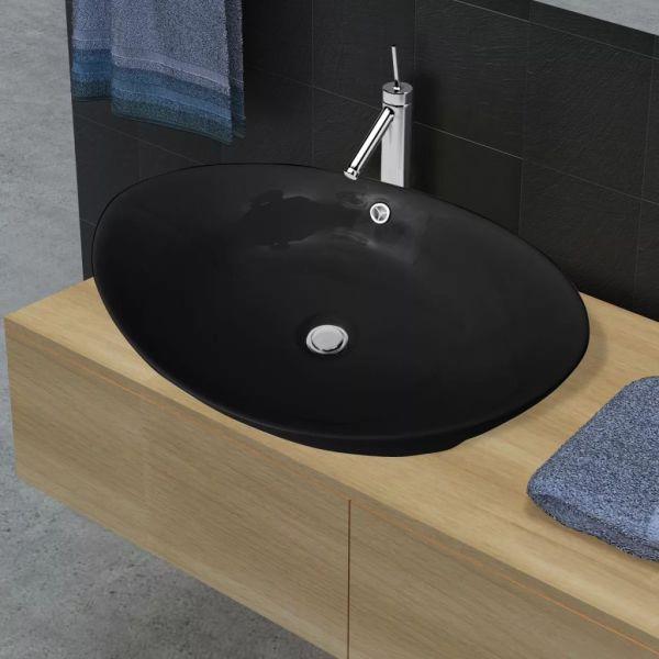 Chiuvetă Ceramică Ovală Neagră cu Gură de scurgere 59 x 38,5 cm