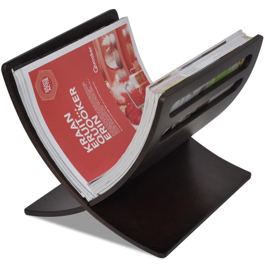 vidaXL Suport din lemn pentru reviste, vertical, maro