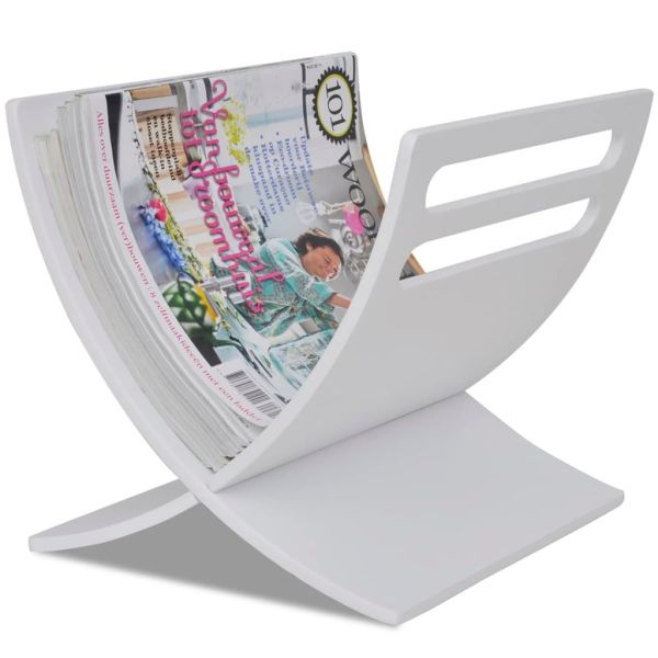 vidaXL Suport din lemn pentru reviste, vertical, alb
