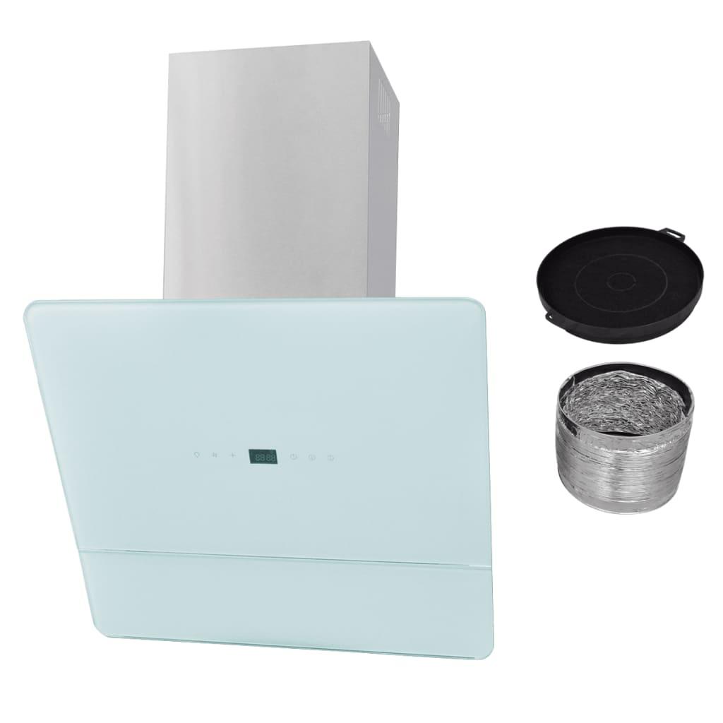 vidaXL Hotă de bucătărie din sticlă securizată, alb, 600 mm