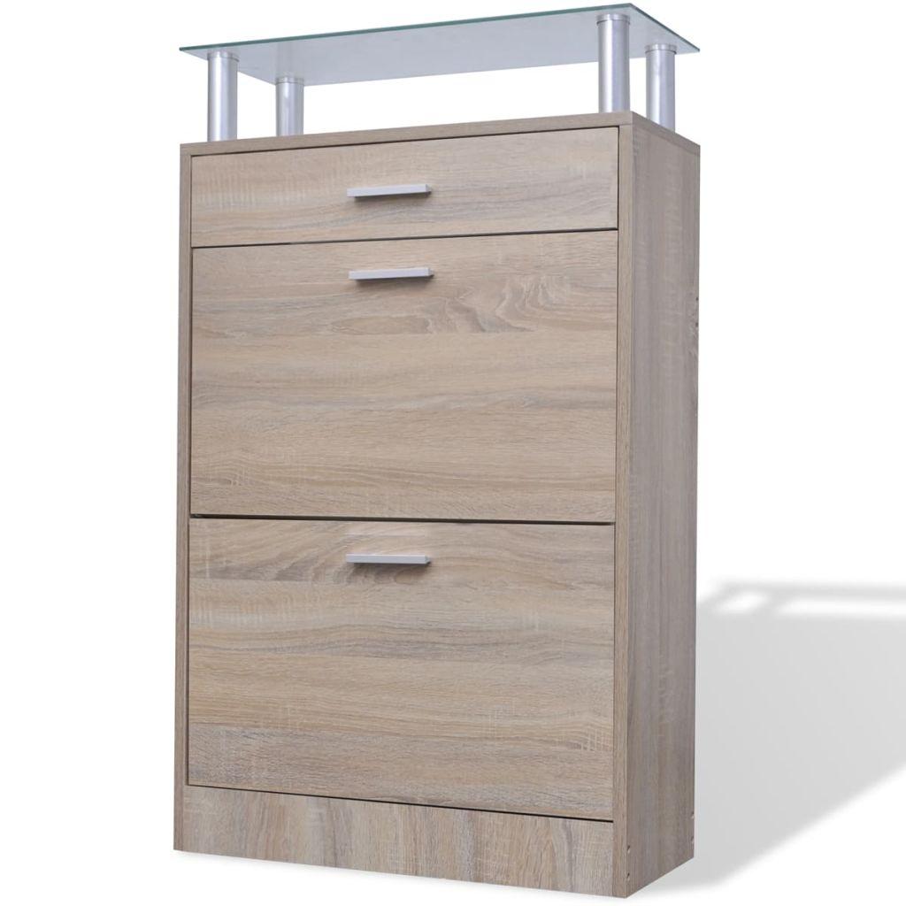 vidaXL Pantofar cu sertar și un raft din sticlă, lemn, aspect stejar