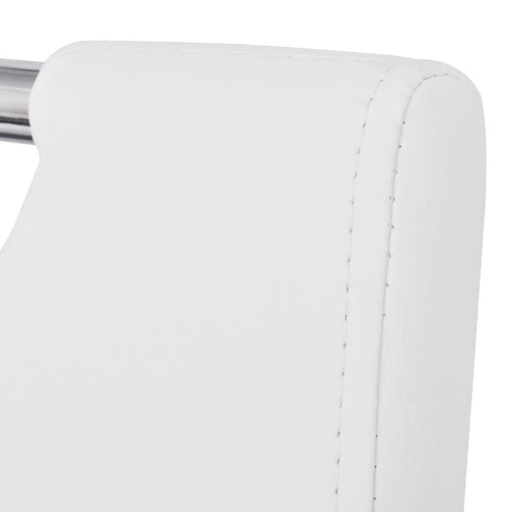 Scaune de bucătărie, 2 buc., alb, piele ecologică