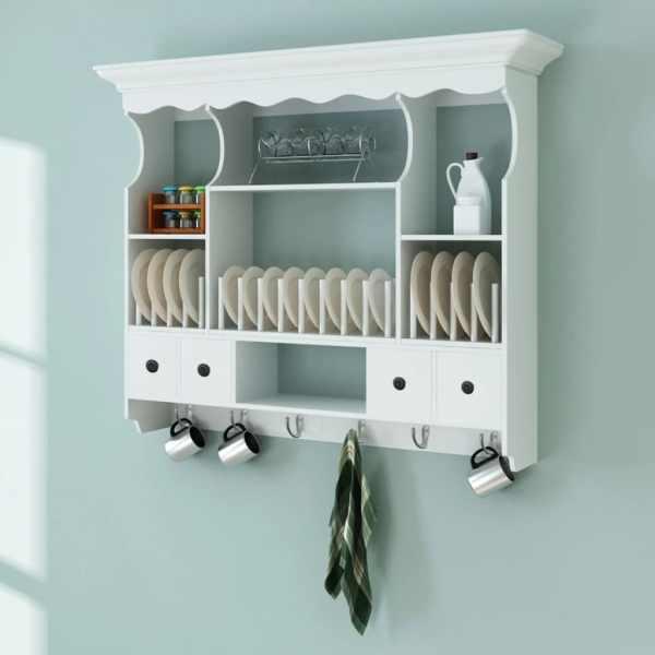 vidaXL Dulap de perete pentru bucătărie, lemn, alb