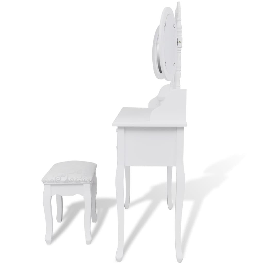 vidaXL Masă de toaletă cu taburet și 3 oglinzi, alb