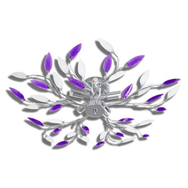Lustră cu brațe în formă de frunze cristale acrilice, 5 x E14, mov/alb