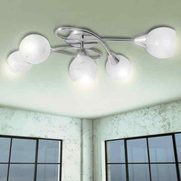 Lampă de plafon cu abajururi de sticlă pentru 5 becuri E14