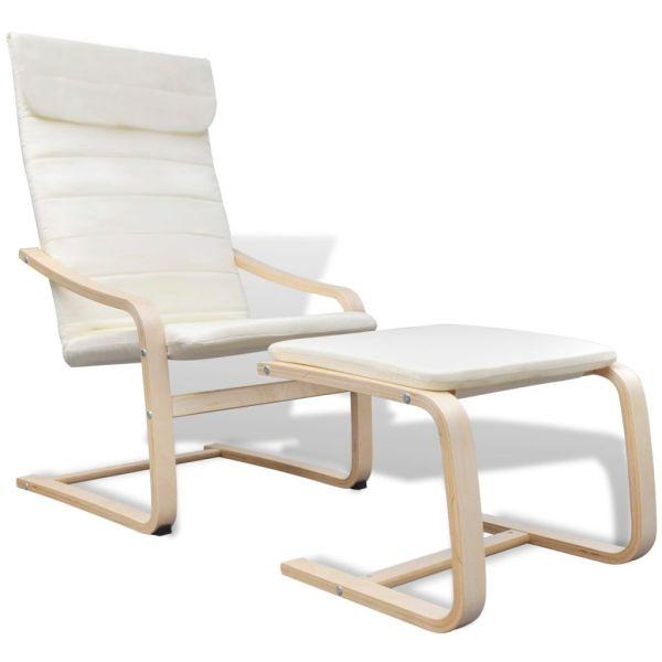 vidaXL Fotoliu cu ramă din lemn curbat, crem, material textil