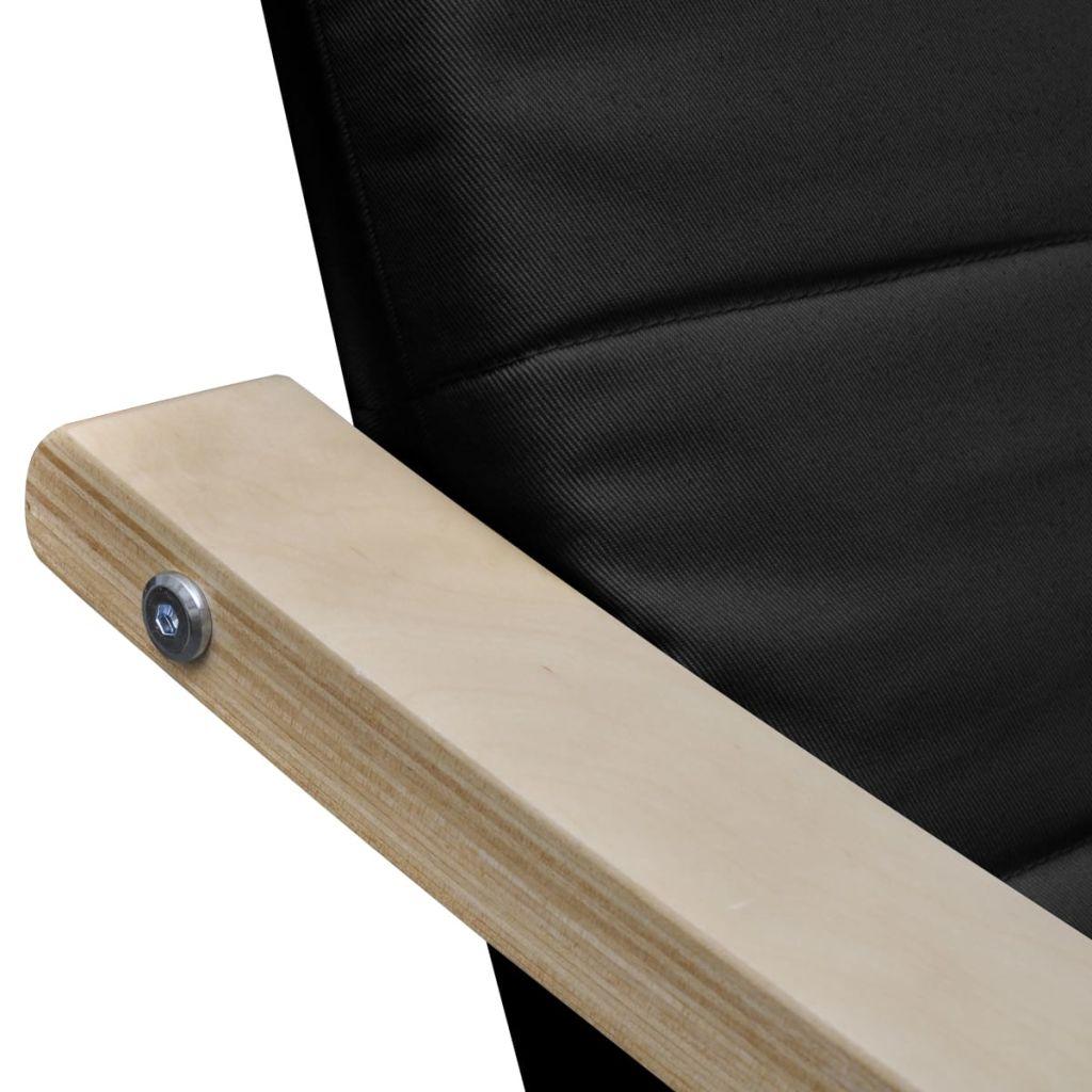 Fotoliu cu ramă din lemn curbat, negru, material textil