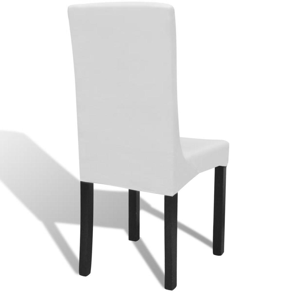 Husă elastică pentru scaun drept, 6 buc, alb
