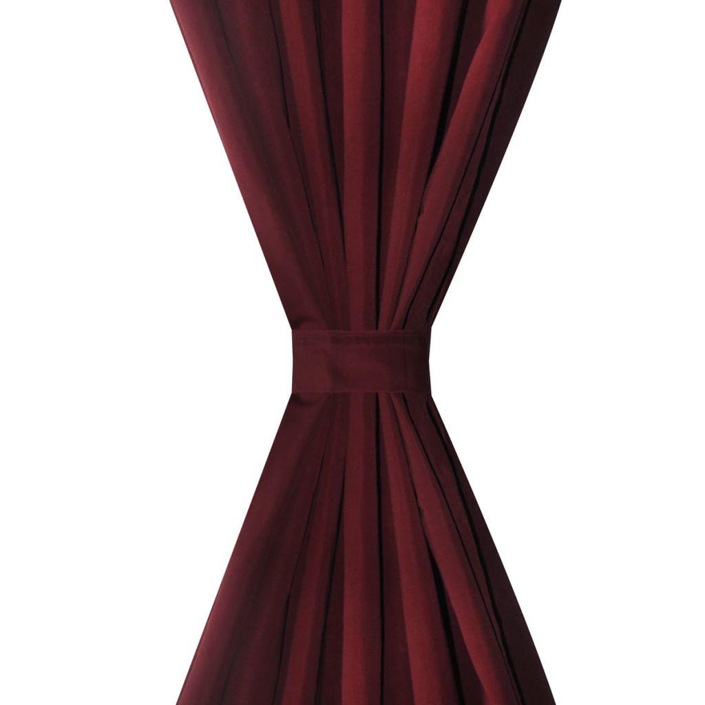 Draperii micro-satin cu bride, 140 x 175 cm, bordo, 2 buc.
