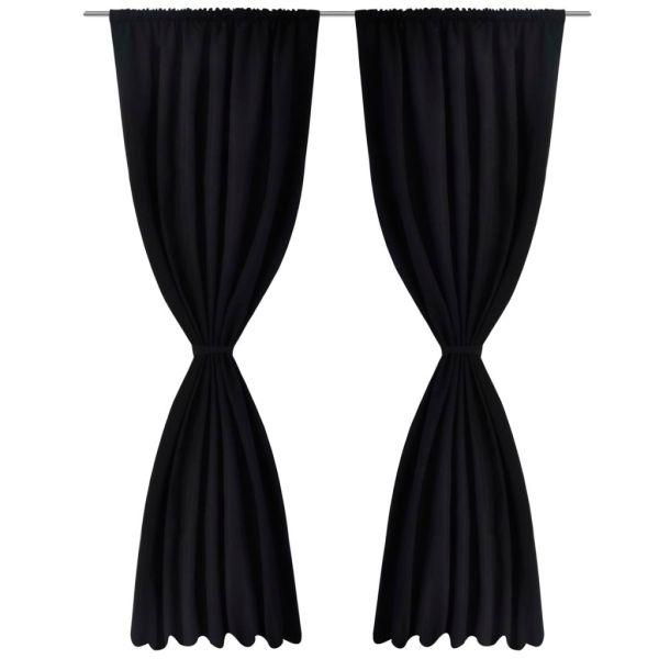 Draperii opace, 2 buc., strat dublu, 140 x 245 cm, negru