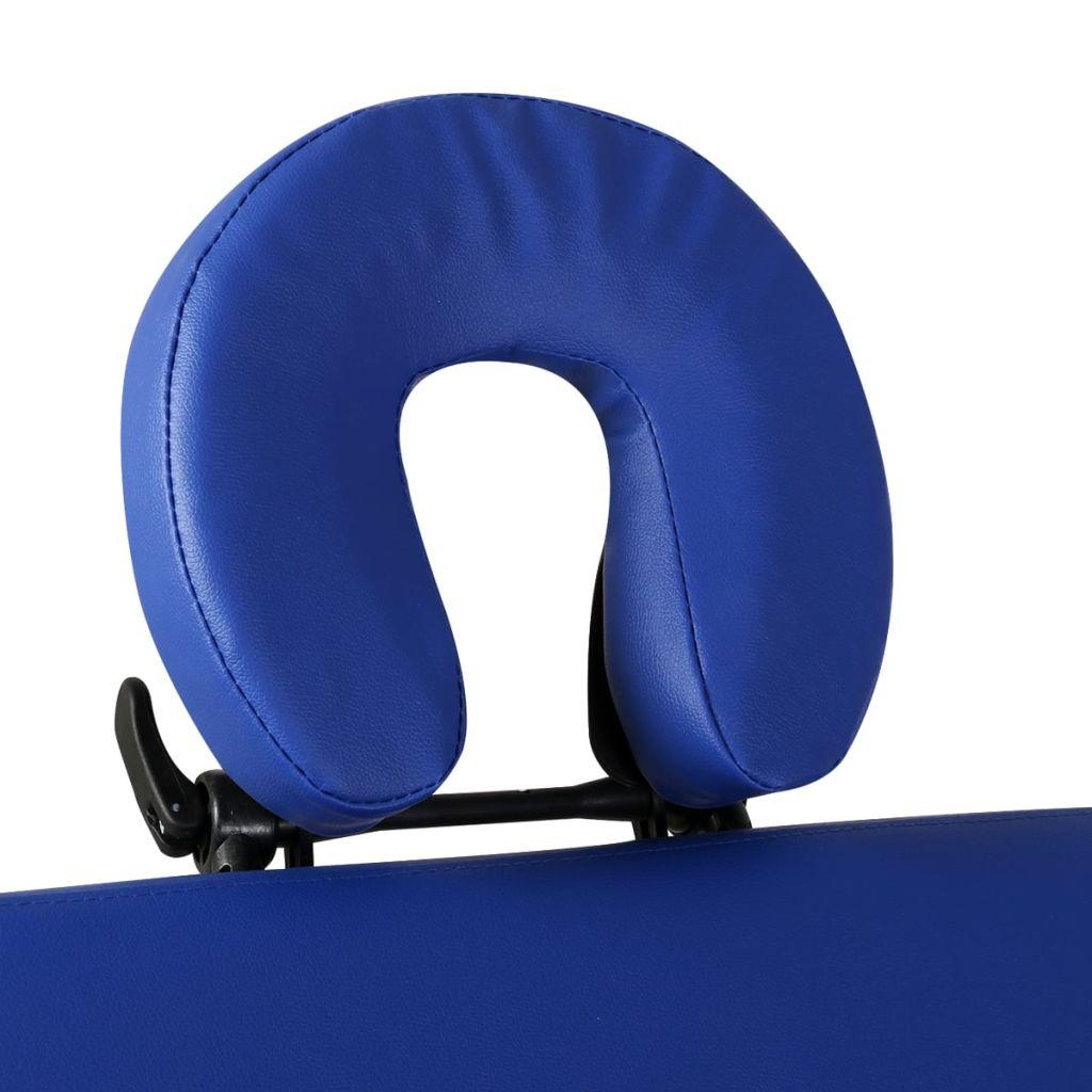 Masă de masaj pliabilă 2 părți cadru din lemn Albastru