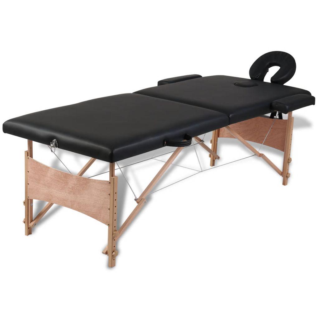 Masă de masaj pliabilă 2 părți cadru din lemn Negru