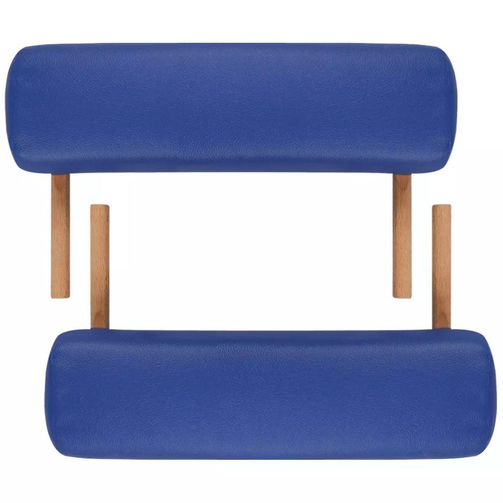 Masă de masaj pliabilă 3 părți cadru din lemn Albastru