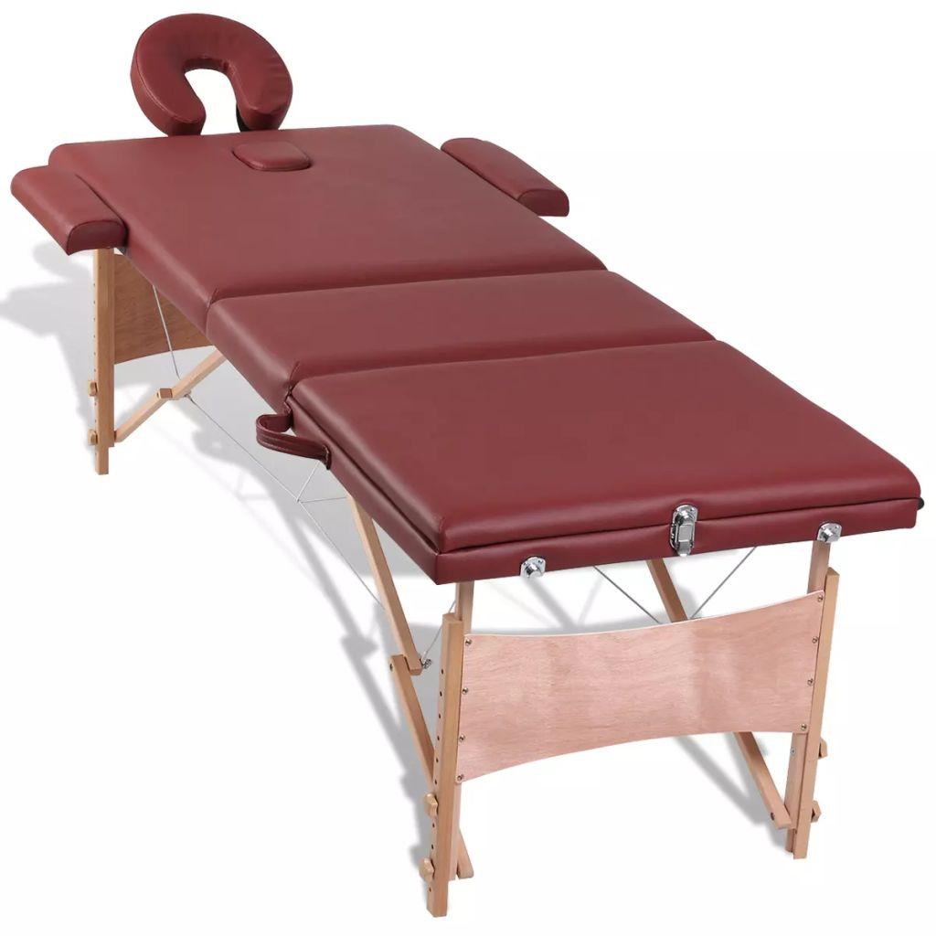 Masă de masaj pliabilă 3 părți cu cadru din lemn Roșu