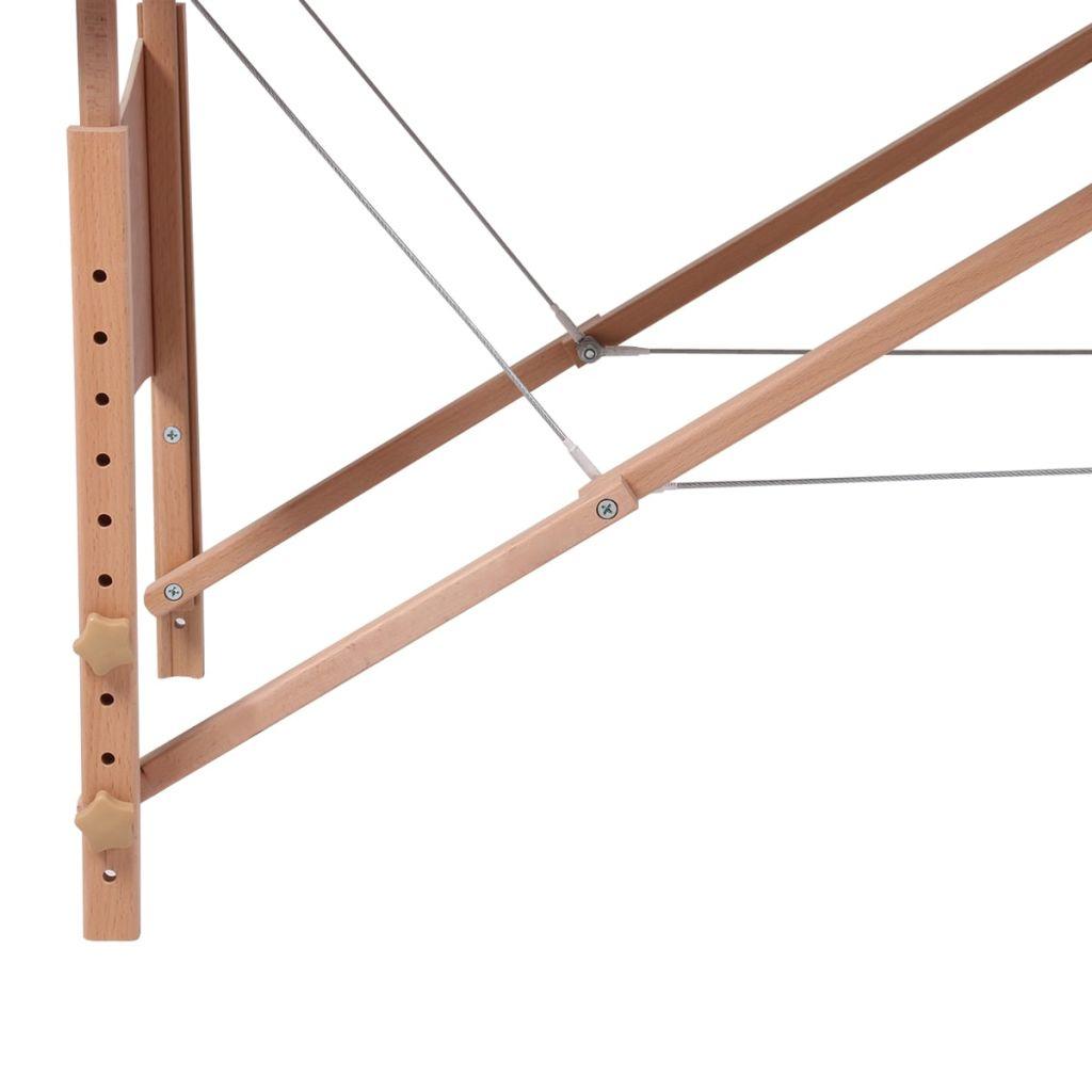 Masă de masaj pliabilă 3 părți cadru din lemn Crem