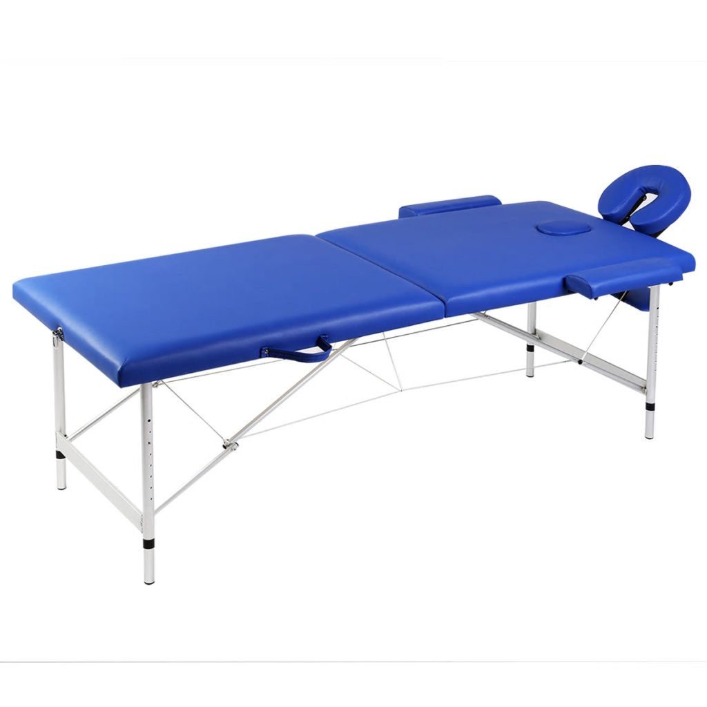 vidaXL Masă masaj pliabilă, 2 zone, albastru, cadru aluminiu