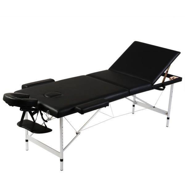 Masă de masaj pliabilă 3 părți cadru din aluminiu Negru