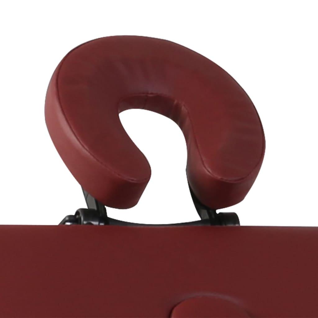 Masă de masaj pliabilă 4 părți cadru din aluminiu Roșu