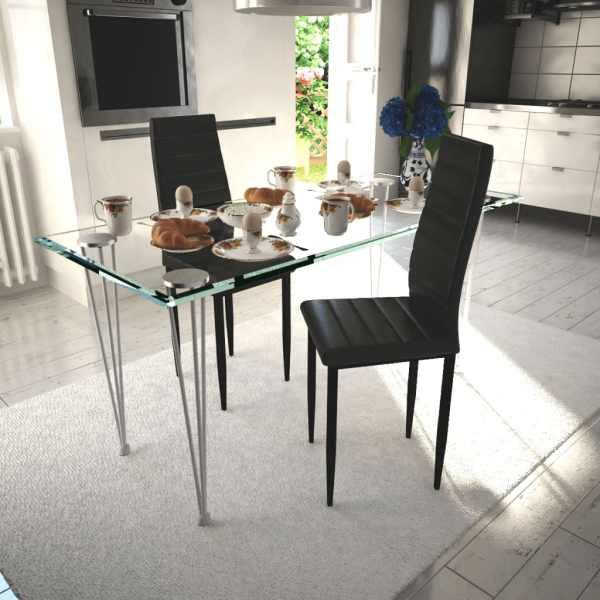 vidaXL Scaune de bucătărie, 2 buc., negru, piele ecologică