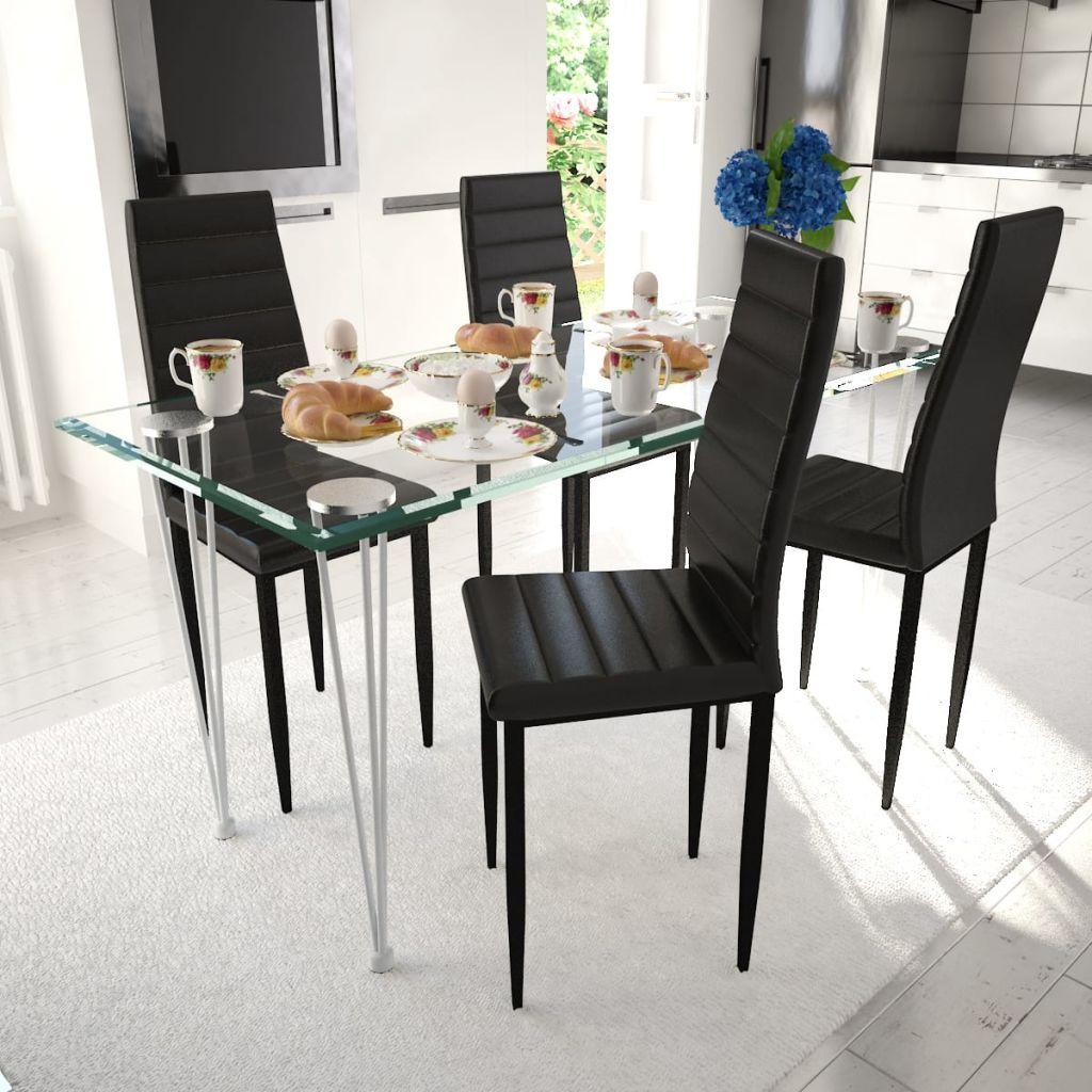 vidaXL Scaune de bucătărie, 4 buc., negru, piele ecologică