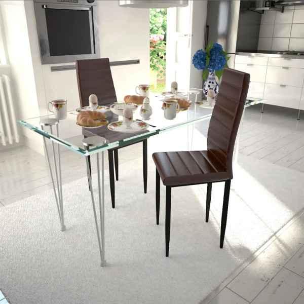 vidaXL Scaune de bucătărie, 2 buc., maro, piele ecologică