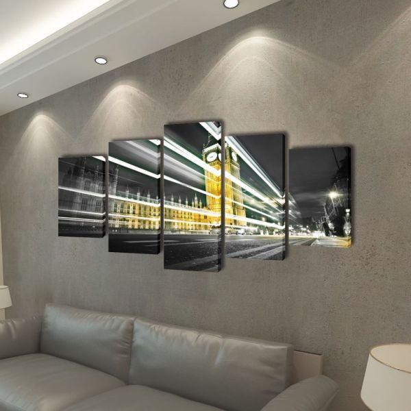 Set tablouri de perete cu imprimeu Londra Big Ben 200 x 100 cm