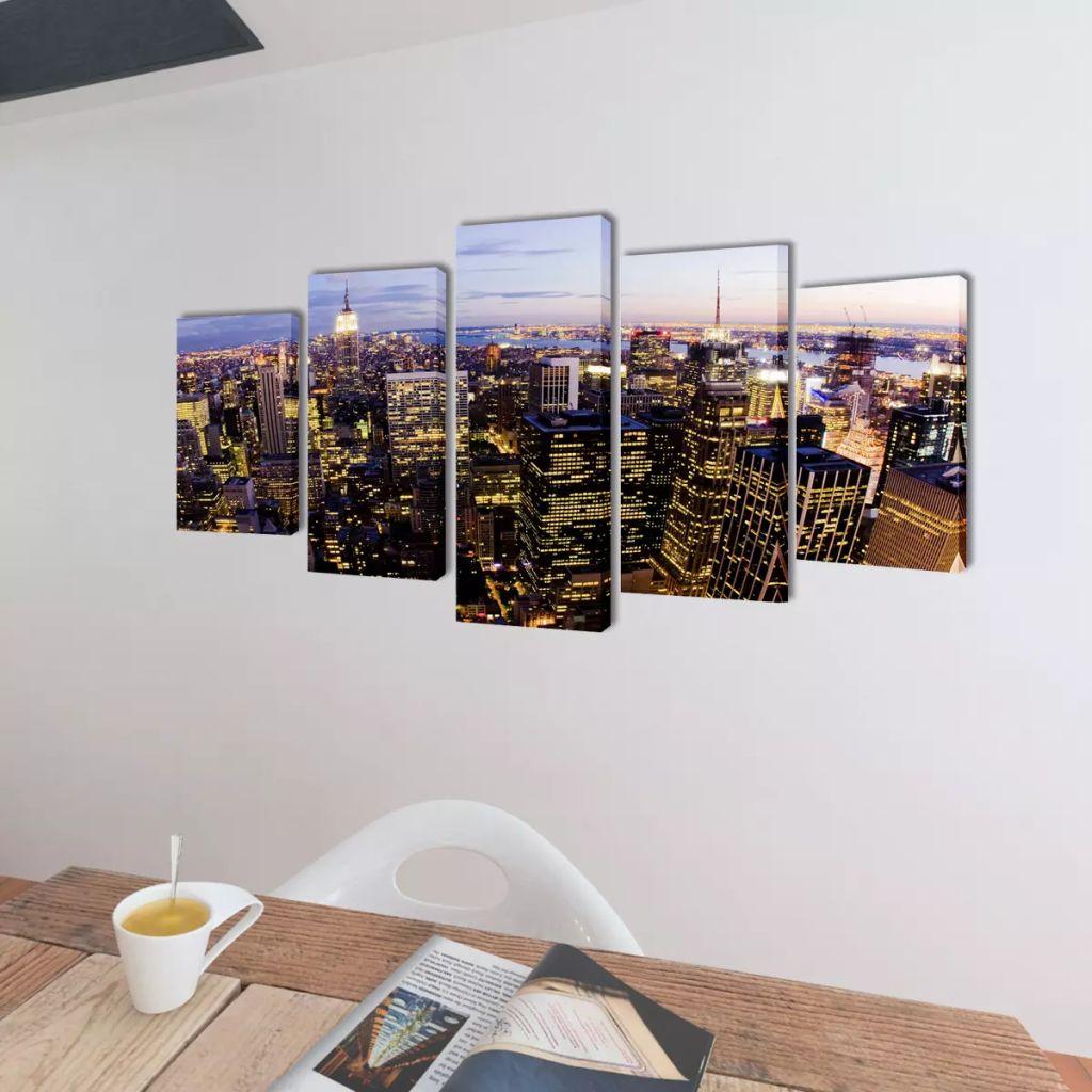 Set tablouri pânză cu vedere panoramică orizont New York, 200 x 100 cm