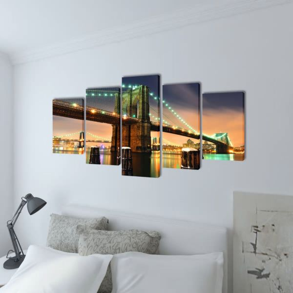 Set tablouri din pânză cu imprimeu Podul Brooklyn, 100 x 50 cm