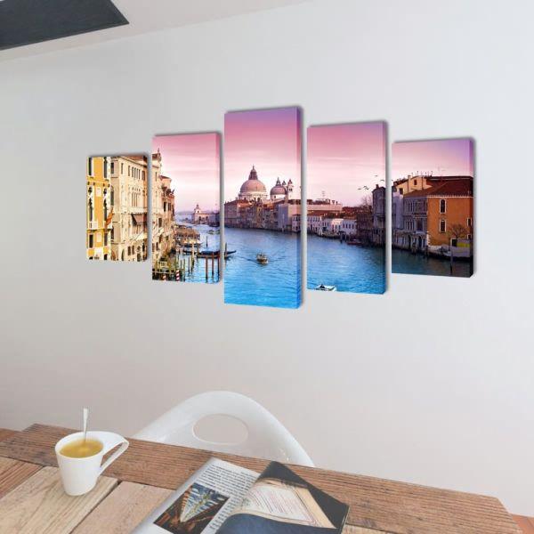 Set tablouri de perete cu imprimeu Veneția, 200 x 100 cm