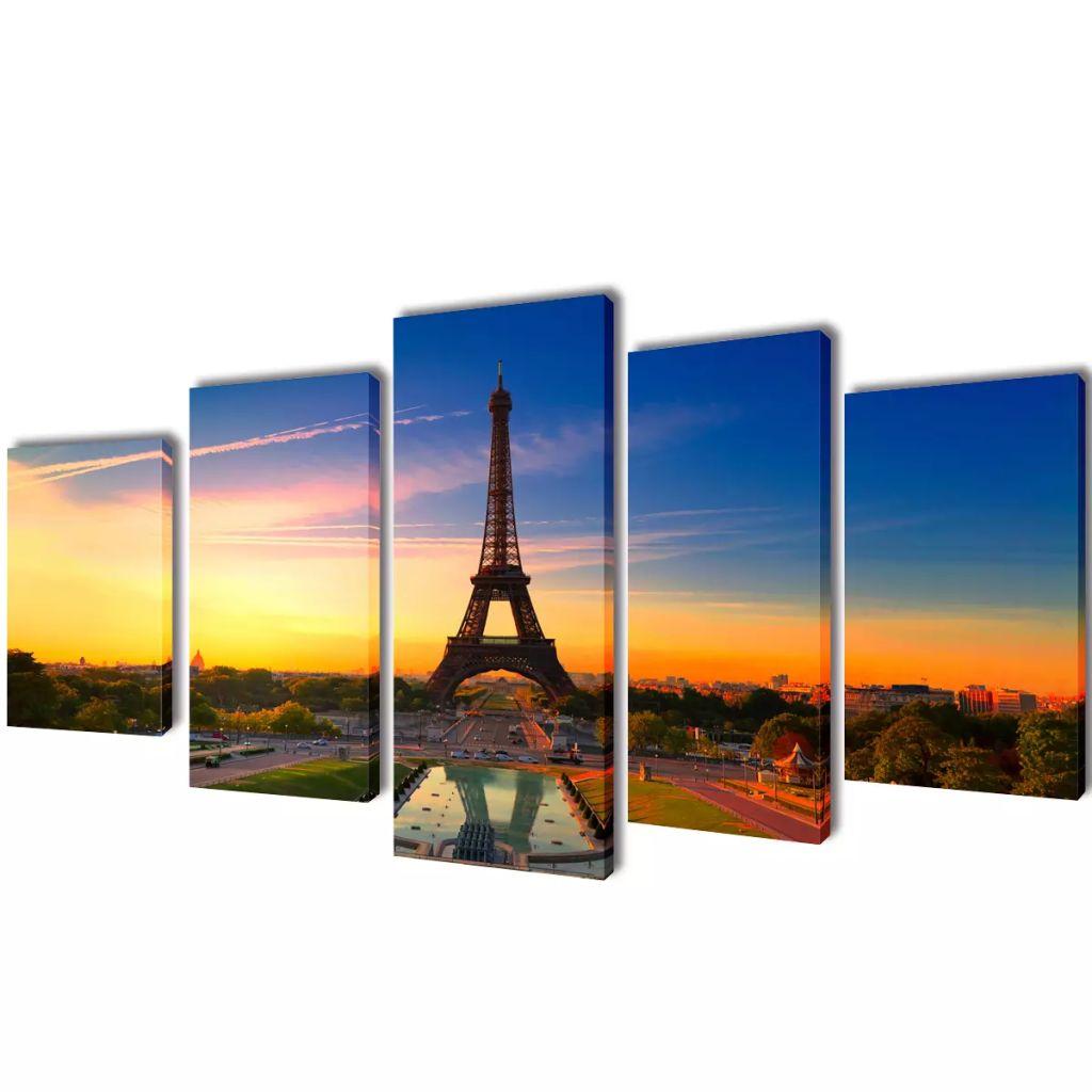 Set tablouri imprimate pânză Turnul Eiffel 100 x 50 cm